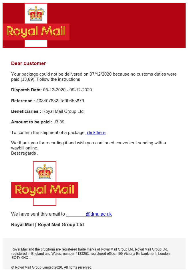 Image of scam email